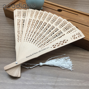 Image 5 - Free shipping,Hot selling 100 pcs/lot Printed Personalized Folding Wooden Carved Hand Fan wedding Invitations Party favors