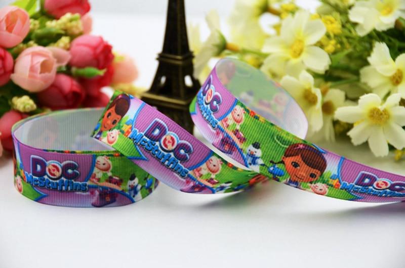 7/8 (22mm) Doc McStuffins Cartoon Character printed Grosgrain Ribbon satin ribbons Party decoration OEM X-00382 10 Yards