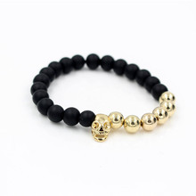 Fashion Gold Color Mens Skull Head Elastic Bracelet Black Matte Energy Stone Buddha Bead Charm Bracelet Jewelry Christmas Gift