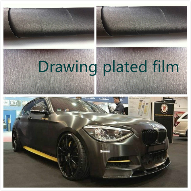 1M*1.52 M Car Styling Carbon Fiber Adhesive gray Vinyl Waterproof Wire drawing Sticker Decoration Film Interior Boday Decal hot sale 1pc longhorn hilux 900mm graphic vinyl sticker for toyota hilux decals badges detailing sticker car styling accessories