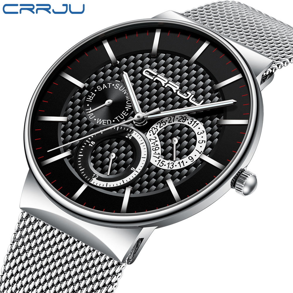 Relogio Masculino CRRJU 2019 Mens Watches Top Brand Luxury Ultra-thin Wrist Watch Fashion Chronograph Sport Watch Reloj Hombre