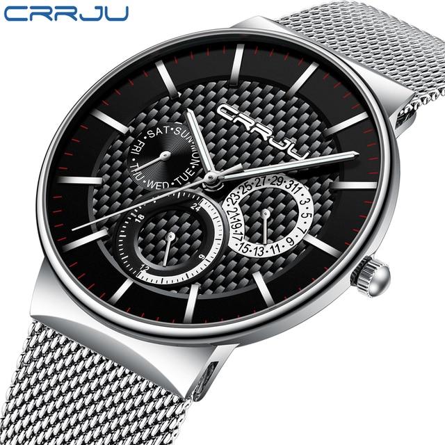 colección de descuento colores armoniosos nuevo estilo y lujo Reloj Masculino CRRJU 2019 relojes para hombre marca de lujo Ultra-delgada  de reloj de pulsera de moda de deporte cronógrafo reloj hombre