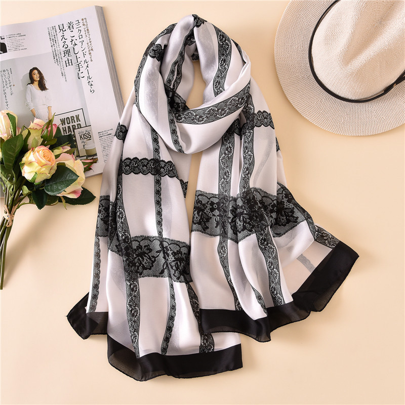 2019 Brand Designer Silk   Scarf   Women Luxury Lace Chain   Scarves     Wrap   and Shawls Plus Size Female Beach Stole Foulards Hijab Snood