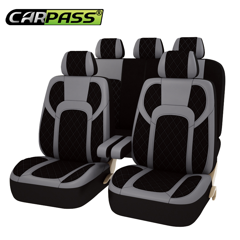 Car pass automobiles 13PCS Full Seat Covers Extreme PU Leather Universal Car Seat Covers Protector Car