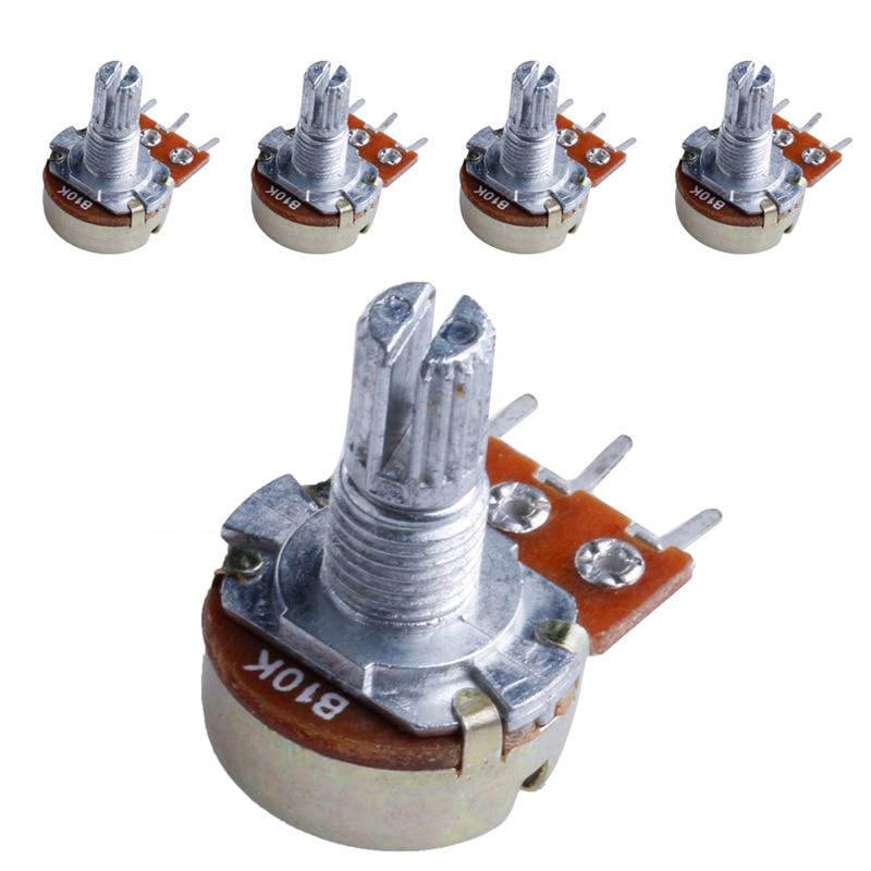 5Pcs B10K Ohm Linear Taper Rotary Potentiometer Panel Pot 15mm Hot #Aug.26