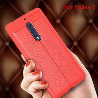 Luxury Fashion Soft TPU Silicone PU Leather Business Litchi Pattern Back Cover Cases For Nokia3 Nokia 5 Noia 6 Shockproof Coque