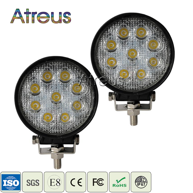 Atreus 2pcs 4Inch 27W Round Car LED Work Light 12V Spot Flood DRL Lamp for Indicators Offroad 4WD Boat Tractor Truck 4x4 ATV