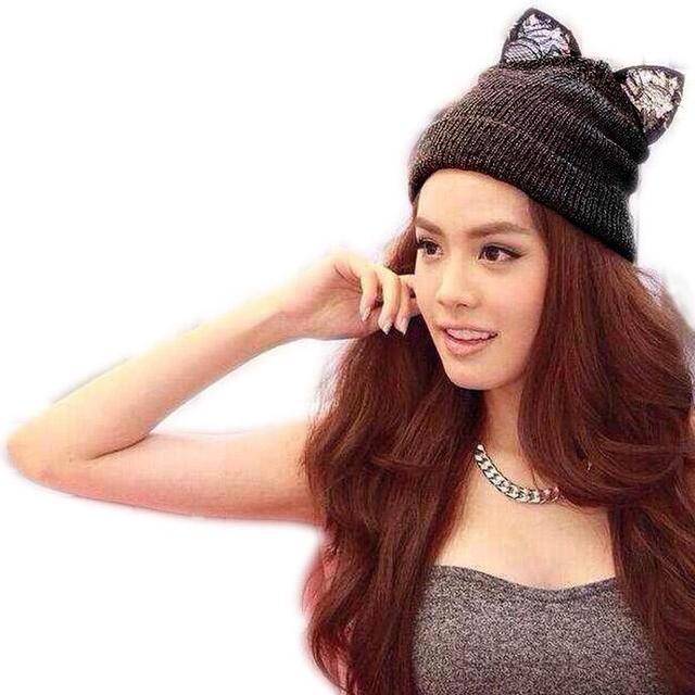 LOVIW Hot Women Lady Winter Warm Knitted Hat Wool Rhinestone Devil Cat Ears Hat Warm Cap