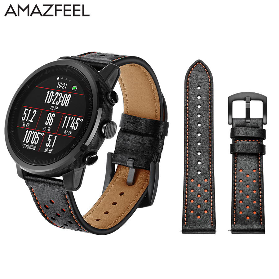 Watch Strap 22mm for Amazfit Pace Band Xiaomi Huami Amazfit Stratos 2 Bracelet Genuine Leather 20mm Amazfit Bip Bit Strap 22mm hole genuine leather watch strap for samsung gear s3 band bracelet for xiaomi huami amazfit pace stratos 2 amazfit 2 band