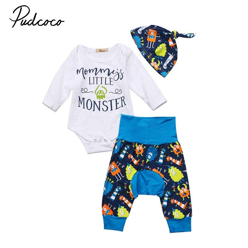 0-18M Little Monster Newborn Baby Boy Girl Clothes Long Sleeve Cotton Romper Tops+Cartoon Harem Pant Hat 3PCS Kids Clothing Set