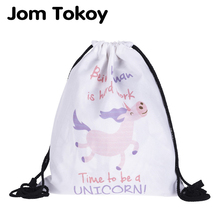 New fashion Women Cute unicorn Backpack 3D printing travel softback women mochila drawstring bag