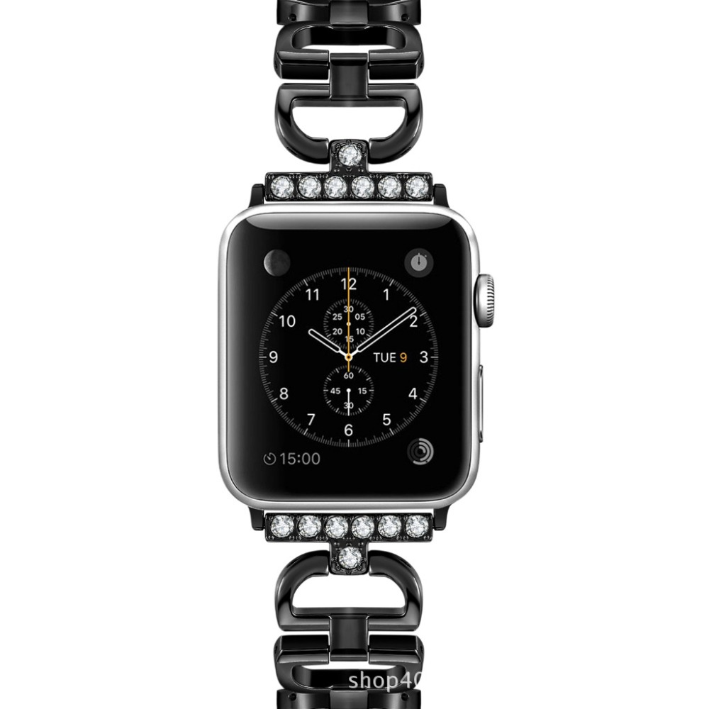 Black D word design Imitation for apple iwatch Bands 38mm/42mm Stainless Steel Strap for iwatch series 1 3 2 Bracelet