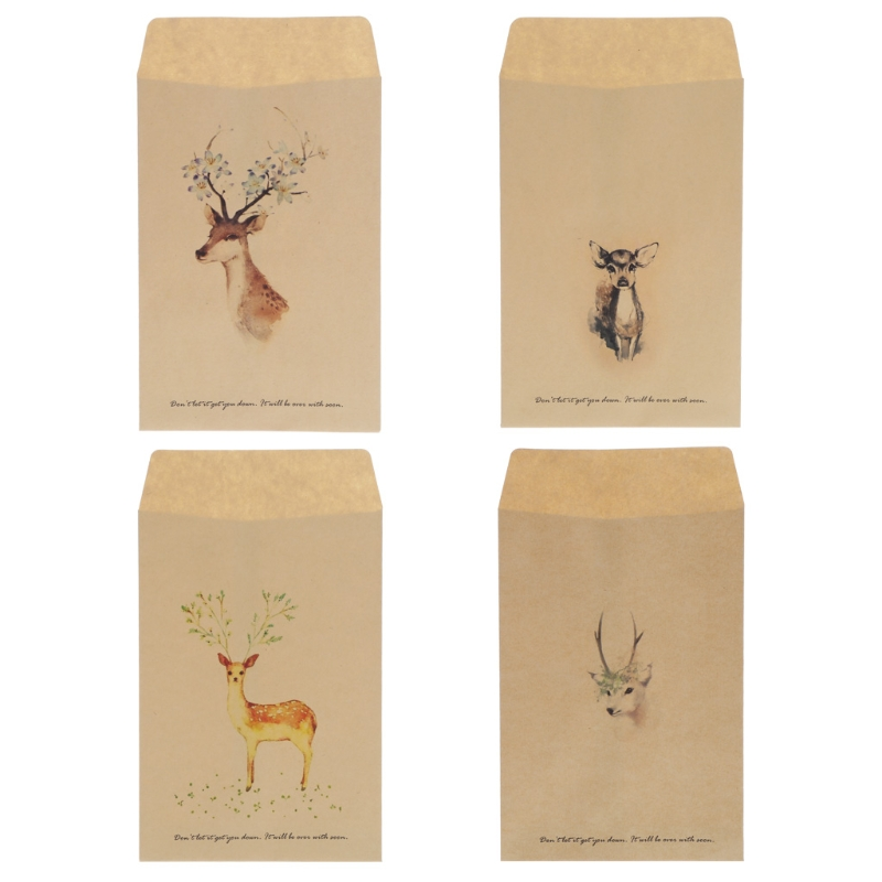 1 Set / 12 Pcs High Quality Vintage Deer Mini Paper Envelope European Style Card Scrapbooking Gift New