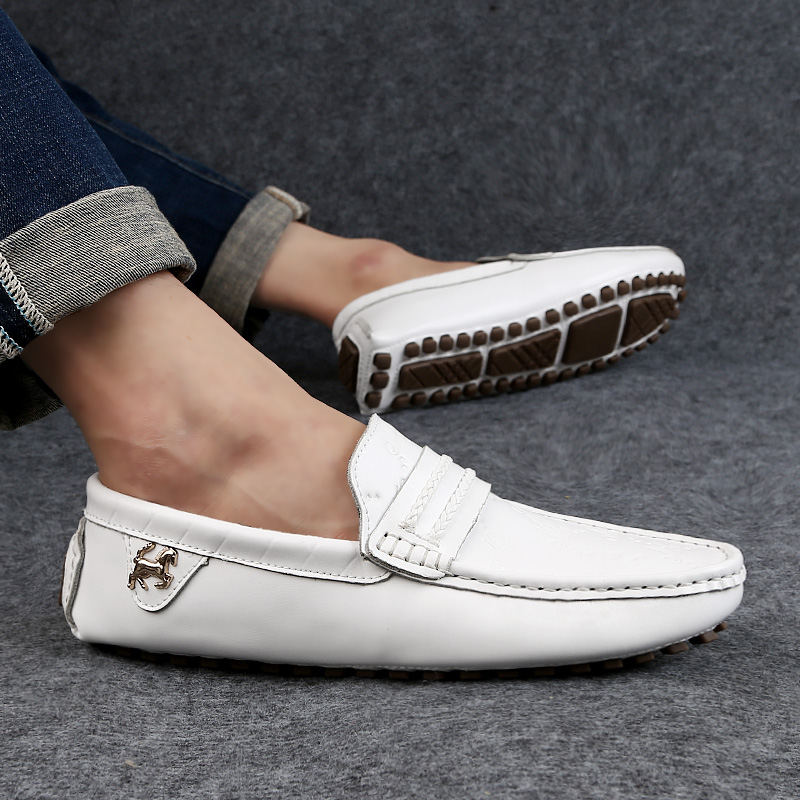 Luz Condução 49 blue De white Homens 37 Genuíno Size Mocassim Moda Loafers Slip Plus Sapatos Casuais Black Couro brown Barco Respirável On Flats w0wUqRI