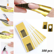 DIY Nail Art Golden Horseshoe Shape Nail Forms Sculpting Acrylic UV Gel Tips Extending Nail Tools 100Pcs