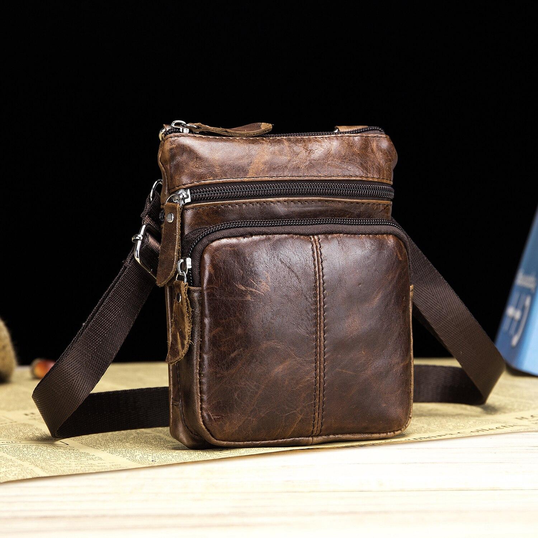 masculino bolsa de moda couro genuíno mini bolsas de ombro para homem