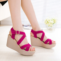 Women Thich Heel Buckle Sandals Summer New Open Toe Fish Head Fashion Platform High Heels Wedge