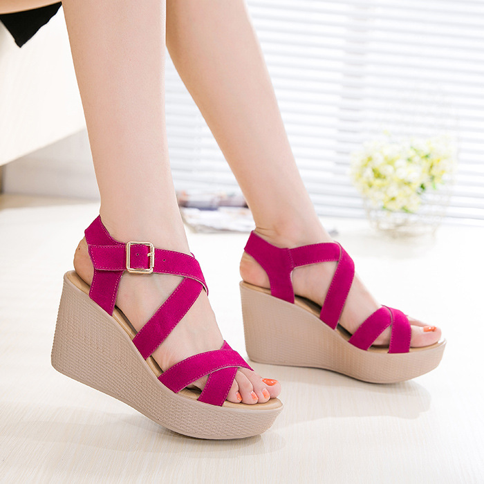 Women thich heel buckle Sandals Summer New Open Toe Fish Head Fashion platform High Heels Wedge Sandals female shoes women shoes women sandals 2017 summer new open toe fish head fashion platform high heels ladies wedge sandals female shoes genuine leather