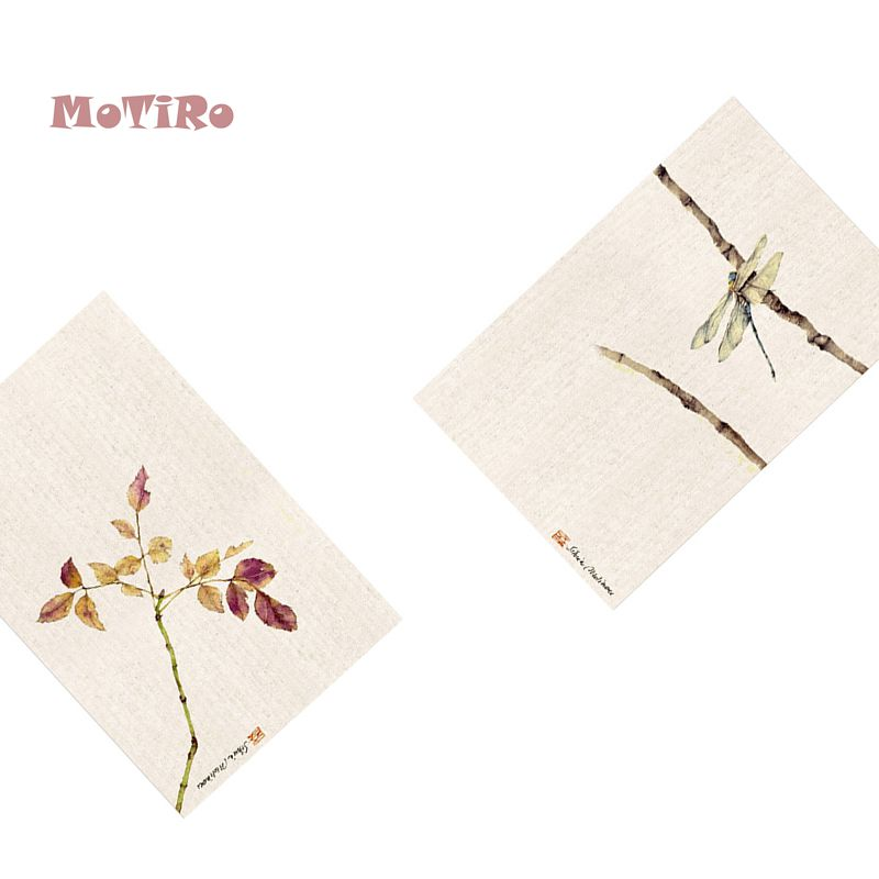MoTiRo,2Pcs/Lot,Plain Hand Dyed Cotton Linen Fabric,Watercolor Dyed of DIY Placemats/Purse/Bags/Cushions/Pillow/Framed Painting