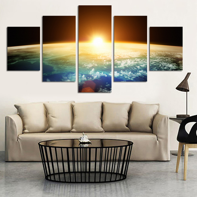 AtFipan 5 Piece Unframed Newly Designed Sunrise Home Wall Decor Canvas  Picture Art Hd Print Painting