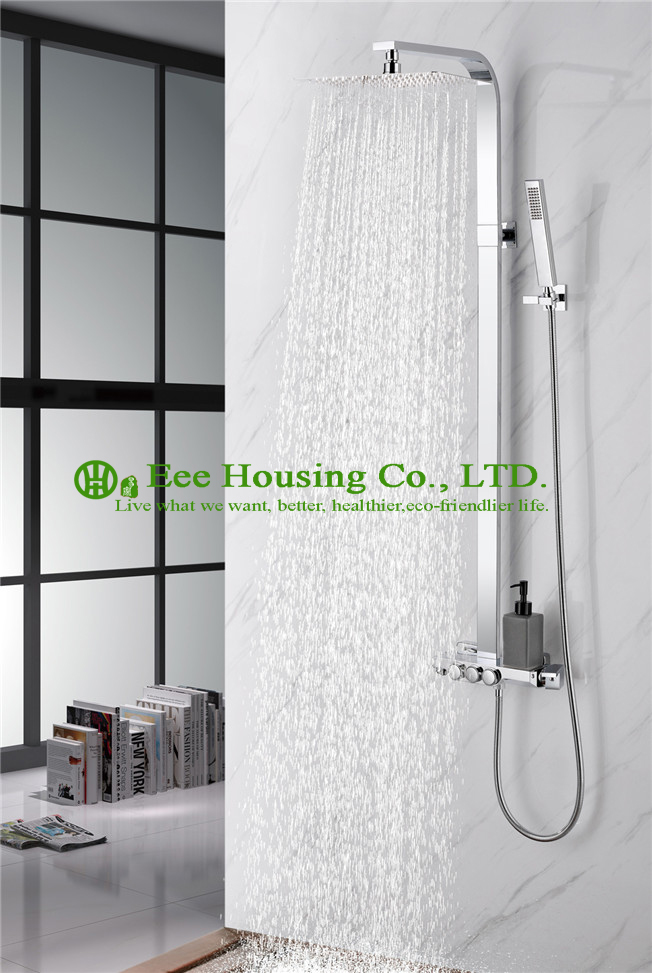 Free Shipping Brass 38 Degree  Thermostatic Shower Set,chrome Finished,shower System,bathroom Accessories