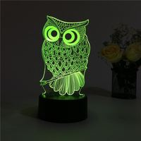 3D night light LED owl three dimensional table lamp bedroom bedside lamp creative dream night light TA91312