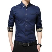 LOLDEAL Summer Long-sleeved Dress Shirt Male Solid Color Business Embroidery Print Men