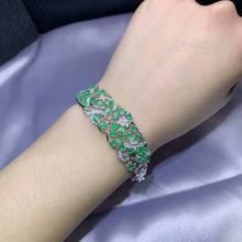 Роскошный браслет MeiBaPJ с натуральным Изумрудным драгоценным камнем, 925 пробы, серебряный, зеленый камень, браслет для женщин, хорошее свадебное ювелирное изделие