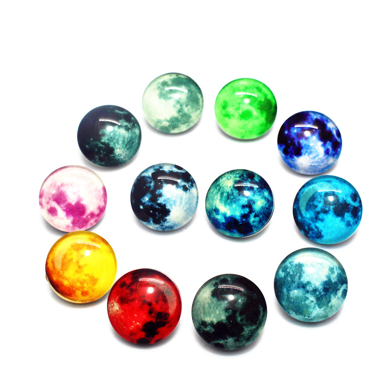 Newest 12pcs/lot Glass Noctilucence Snap Buttons moon Snap Buttons Charms Fit 18mm DIY Snap Bracelets&Bangles Jewelry image