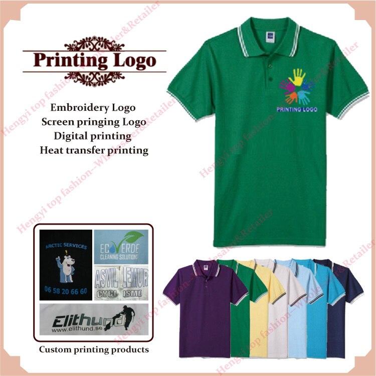 Print embroidery custom logo shirts screen printed digital for Custom business logo t shirts