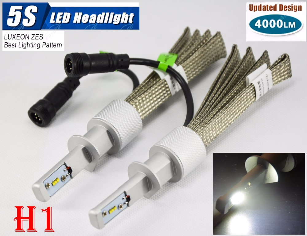 1 Set H1 50W 4000LM 5S LED Headlight Kit LUMILED LUXEON ZES 12LED SMD Chip Fanless 6500K Driving Fog Lamp Bulb HID Xenon Halogen 1 set 9012 hir2 50w 4000lm 5s led headlight kit lumiled luxeon zes 12led smd chip fanless 6500k driving fog lamp bulb hid haloge