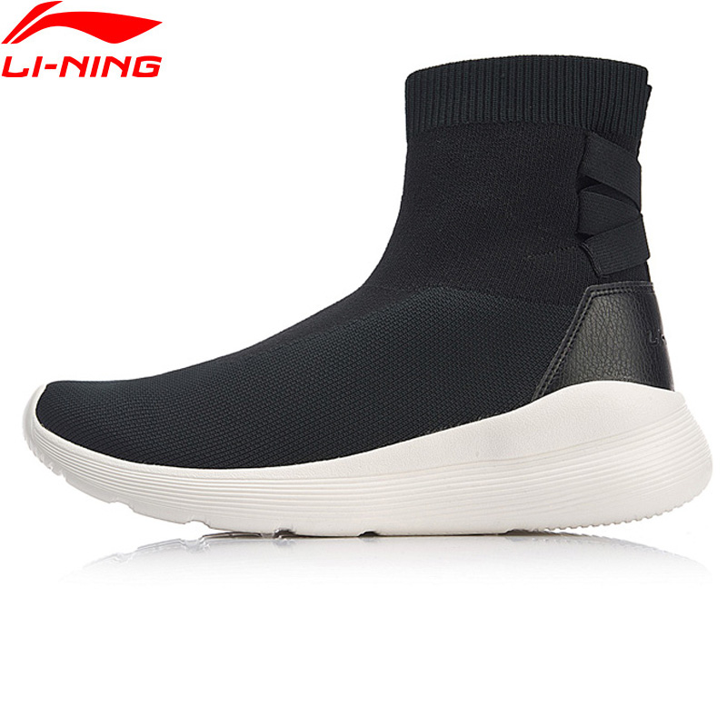 Li-Ning Women NO PANTS Classic Walking Shoes Sock-Like Mono Yarn Breathable LiNing Sport Shoes Sneakers AGCN088 YXB219 li ning women gel knit classic walking shoes wearable anti slippery sneakers mono yarn lining sport shoes agln044 yxb133