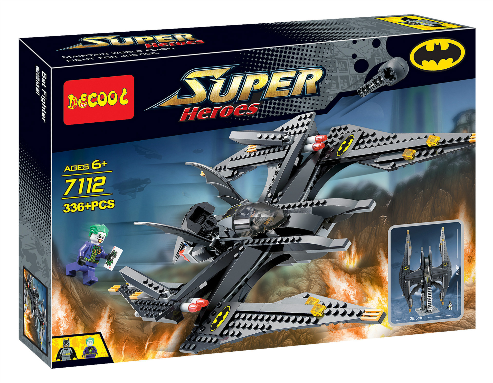 DECOOL 7112 Superhero series - bat fighters.336 pcs Legoings 3D DIY Figures toys for children educational building blocks