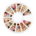 12 Rejilla Redonda Bolas Nail Art Decoration Rueda Perla de Cristal UV Esmalte para Las Uñas de Gel Glitter Belleza Bling Piedra DIY Herramienta de la Manicura