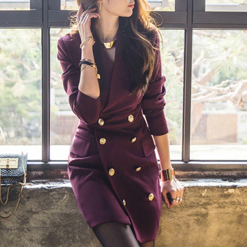 Korean Style Autumn Women Vintage Dress V Neck Long Sleeve Office Work Dress Double Breated Business Party Dress
