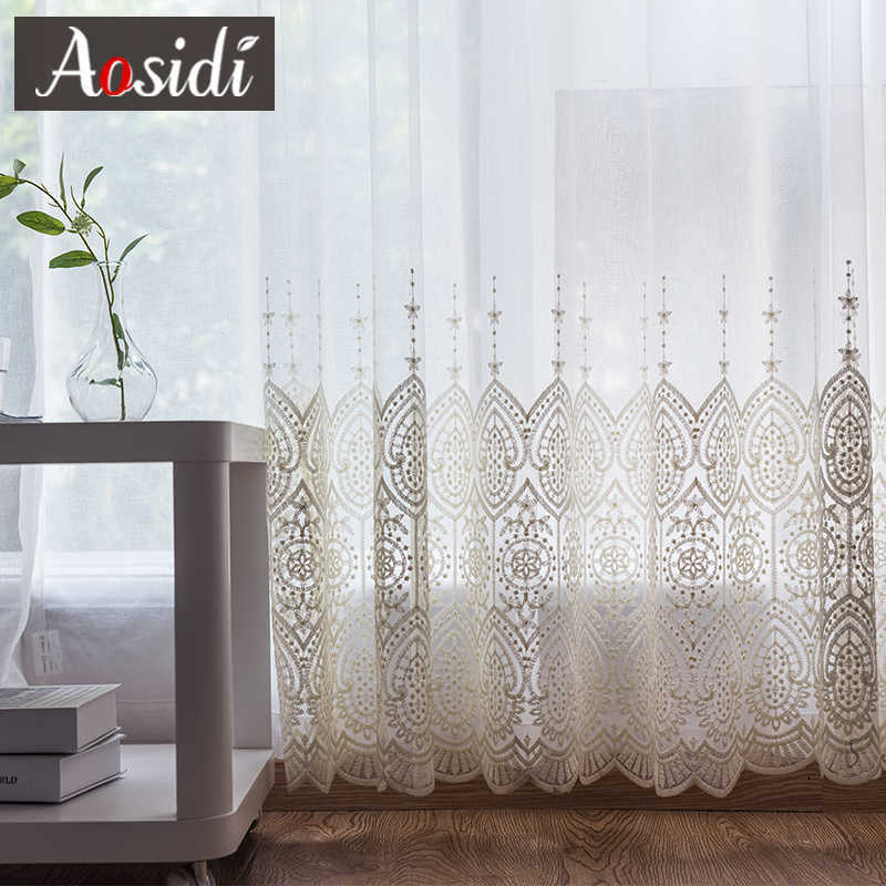 Delicate Embroidered Tulle Curtains For Living Room Luxury white Sheer Volie Window Curtain for Bedroom lace cortina para sala