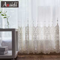 Delicadas cortinas de tul bordadas para sala de estar de lujo blanco transparente Volie ventana cortina para dormitorio encaje cortina para sala