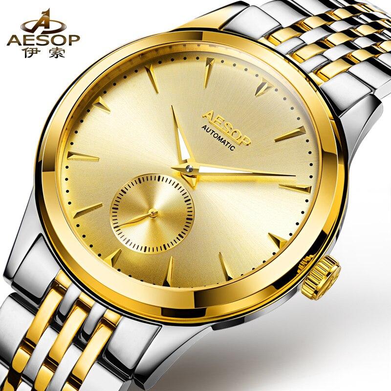 ФОТО AESOP 9031 Switzerland watches men luxury brand metropolis gentleman genuine automatic mechanical watch gold stainless steel