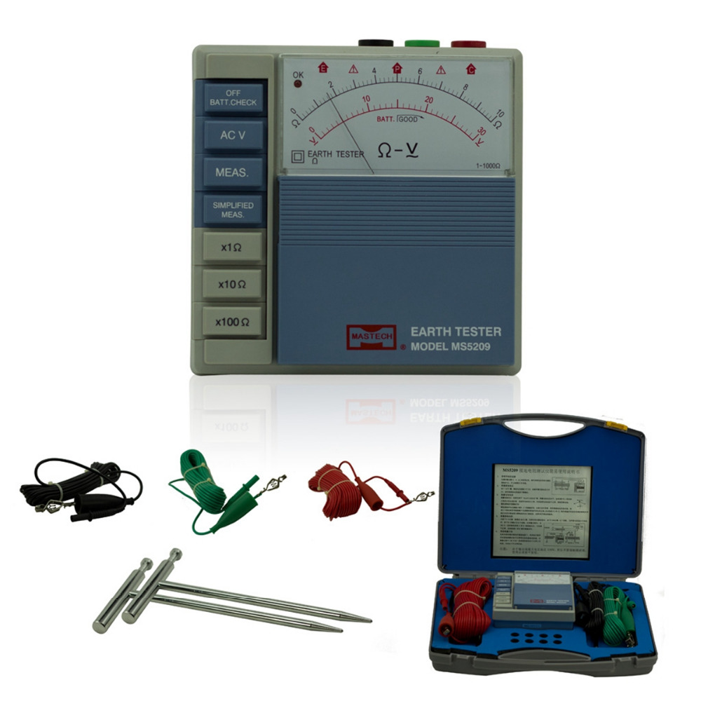 MASTECH MS5209 Low Power Pointer Ground Resistance Tester Analog Earth Resistance Test Meter Megger Megometro 10ohm to 1000ohm 4 8 days arrival test line clip for lw2678 earth resistance tester earth resistance meter