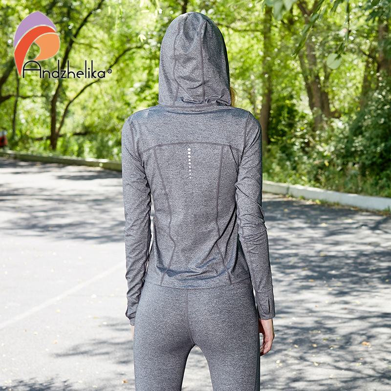 Andzhelika Running Jacket Women Zip Up Sweatshirt Outdoor Long Sleeve Hoodies Sports Women's Clothing Fitness Sportswear AK215 color block bird embroidered raglan sleeve zip up jacket
