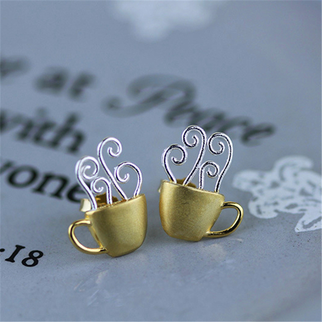 Exclusive! Creative Hot Coffee Cup Stud Earrings High Quality Real 925 Sterling Silver Handmade Jewelry  Newest Design