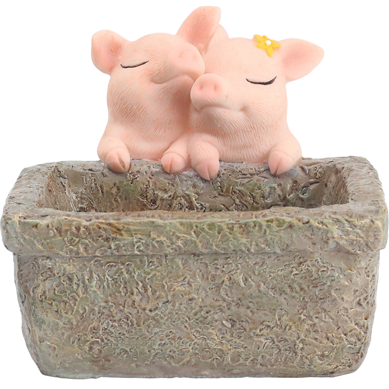 Flower pot decorative succulent Simulated lovely pig plant Pot balcony decorations fairy garden home decoration accessories in Flower Pots Planters from Home Garden