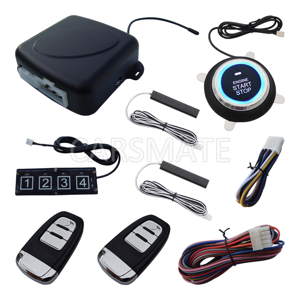 Universal Rolling Code PKE font b Car b font Alarm System W Password Keypad Remote Start