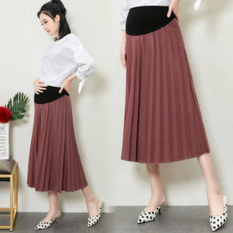 8a903f338d92f Maternity Skirts Fashion Care Belly A-Line Pleated Skirt High Waist for pregnant  women Pregnancy