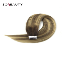 Tape in Human Hair Extensions Natural Real Hair 20pcs Mixed Color Extensions Brown to Blonde straight malaysian hair
