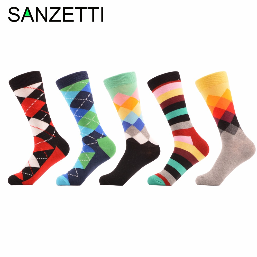 SANZETTI 5 pair/lot Striped Diamond Lattice GradientColorful Fun Men Socks Combed Cotton Socks Casual Wedding Socks US 7.5-12