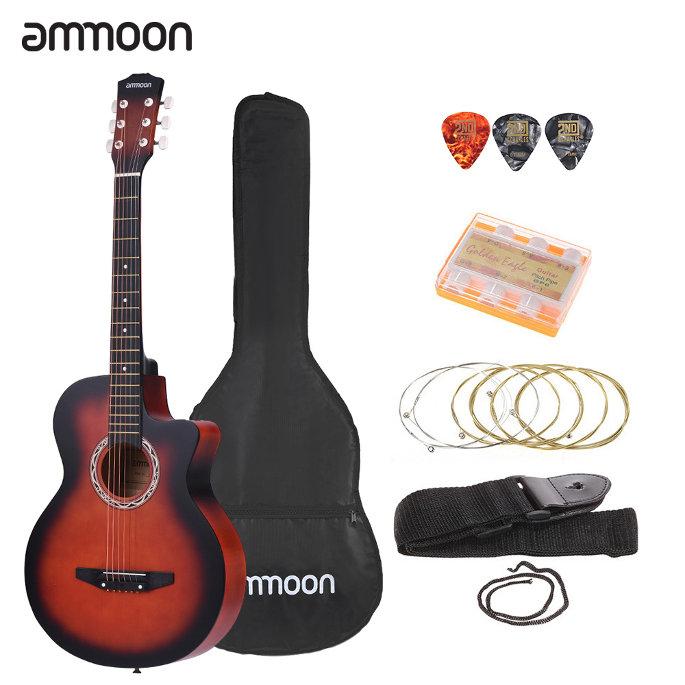 "ammoon 38"" Acoustic Guitar 6 Strings Guitarra Folk Guitar Cutaway Acoustic Guitar with Bag Strap String Tuner Pick for Beginners"