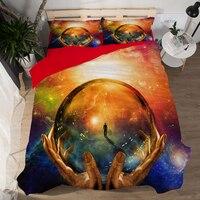 New HD 3d bed linens Galaxy Star Space Universe Tennis duvet cover cotton bedding set queen 3PCS adult bedclothes US Size