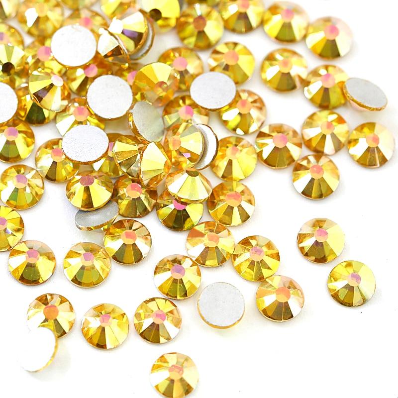 2028 SS3-SS30 Sunshine Glass Non Hot Fix Rhinestones Gold Glitter  Rhinestones Glitter Diamond For Nail Art Decorations B3577 24c4353d2a37