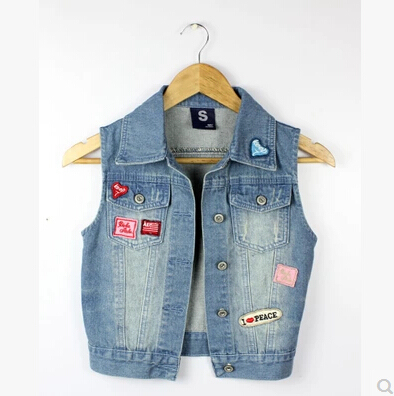2016 Women's Turn-down Collar Frayed Personalized Cardigans Lady Denim Jean Vests women Coats Clothes Export From China 9955#